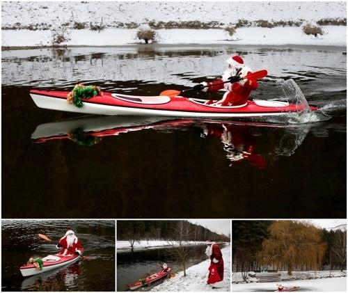 <strong>카약 타는 산타</strong> (EPA=연합뉴스)<br> 12월 15일 벨라루스 민스크에서 열린 산타 달리기대회에서 한 참가자가 카약을 타고 이동하고 있다.